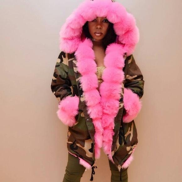 Womens Oversized Hood Pink Fur Parka Coat Ladies Camouflage Faux Fur Jacket